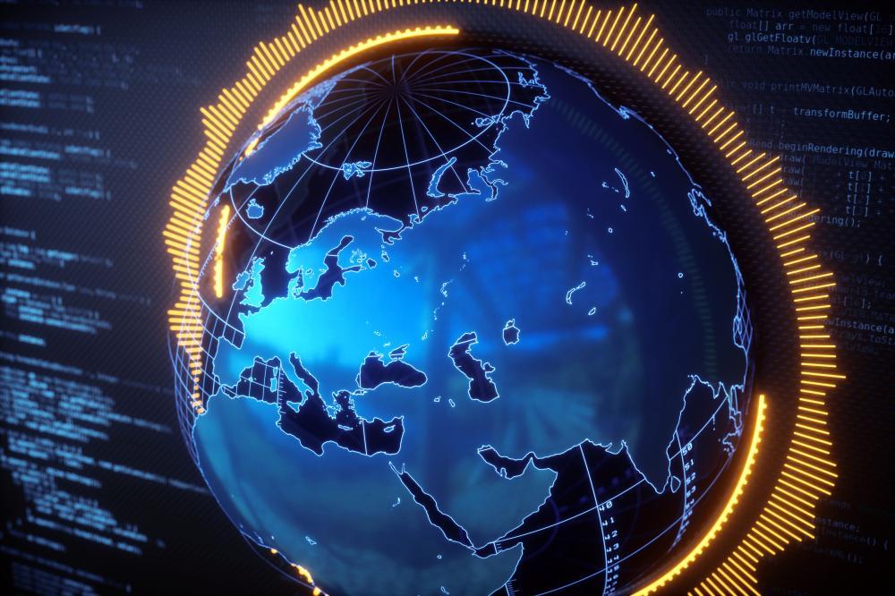 digital globe surrounding by coding