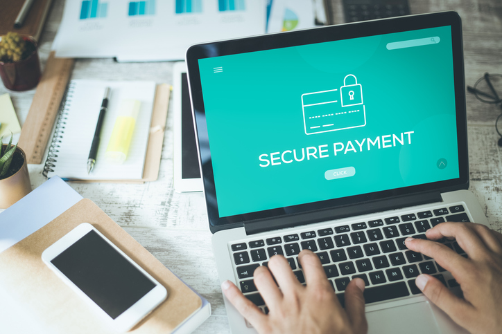 laptop on secure payment page