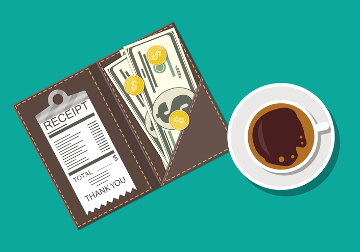 Folder with receipt, cash, coins next to a coffee cup