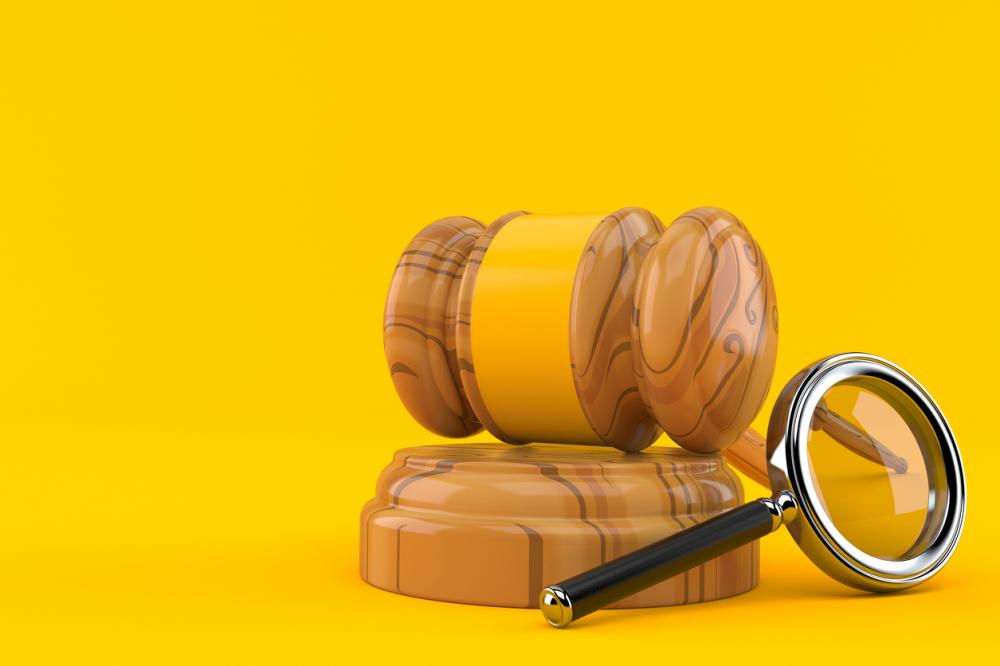 gavel and magnifying glass