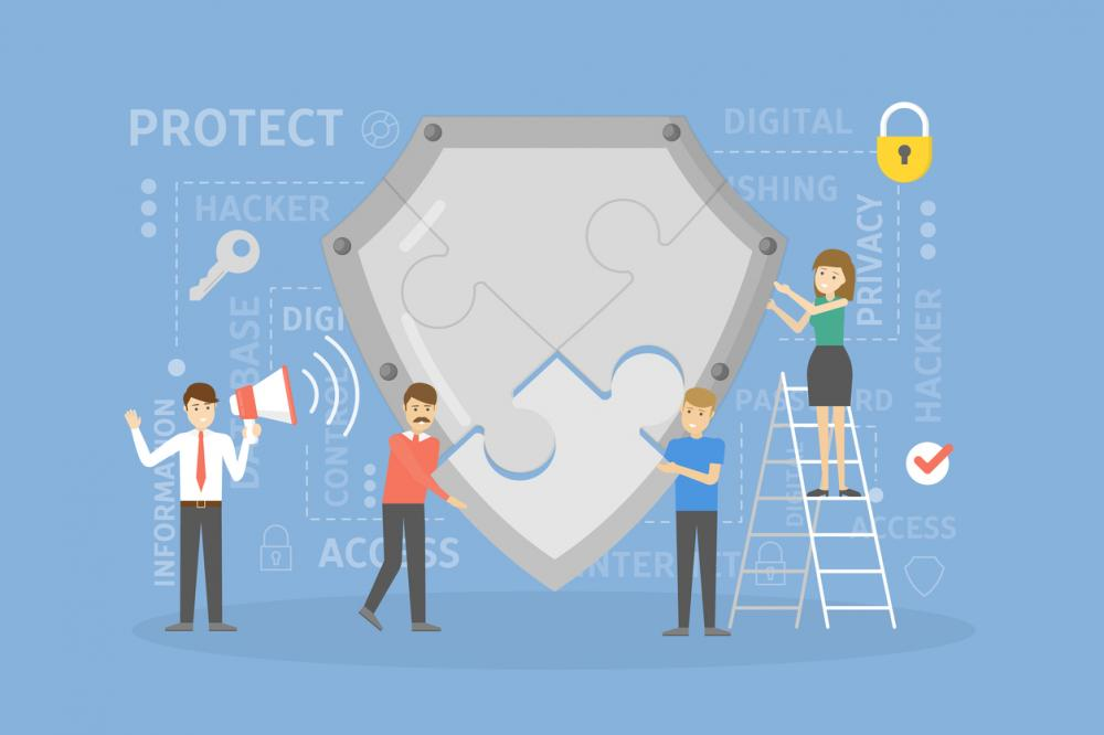 concept image: workers cooperate to put together shield for data protection