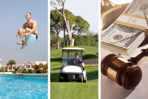 three images: 1. man jumping into pool 2. person driving a golf cart 3. money and a gavel