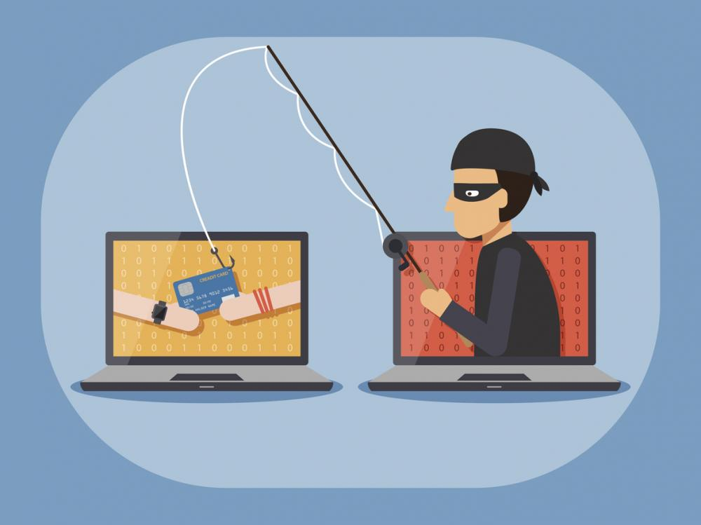 phishing concept image: criminal casts fishing line into computer