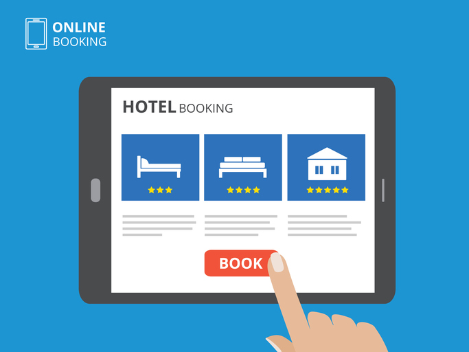 online hotel booking on a tablet
