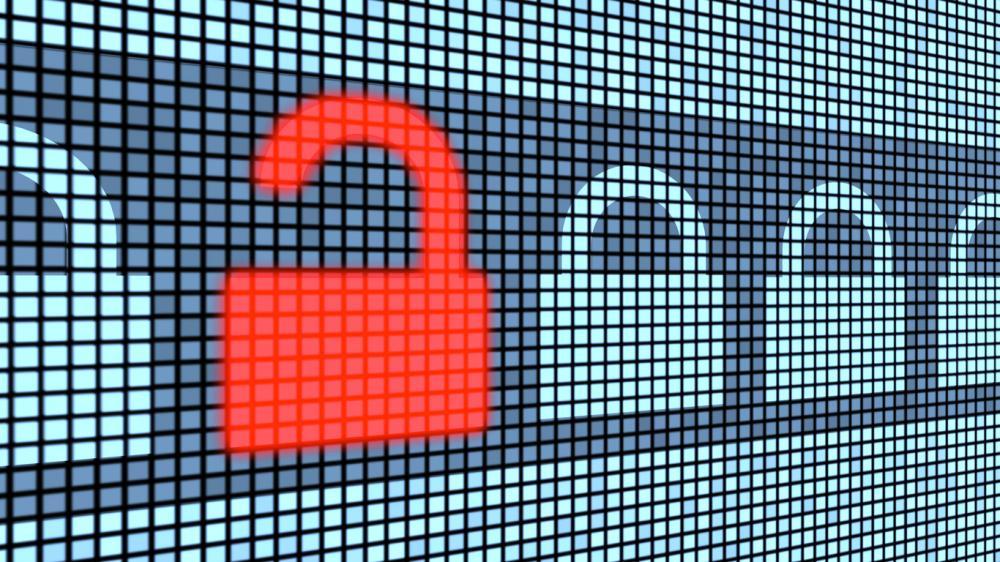 row of digital locks with one red unlocked lock