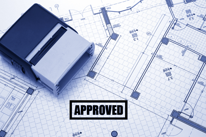 Architectural project stamped with approved