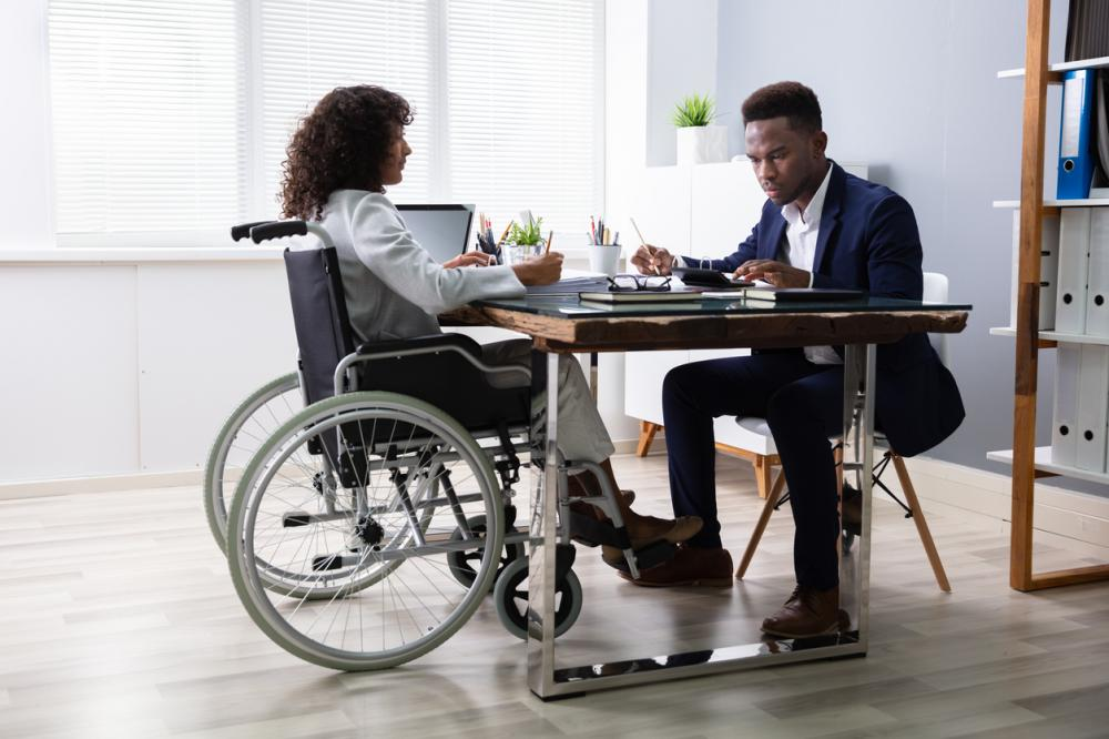 disabled employee talking to HR