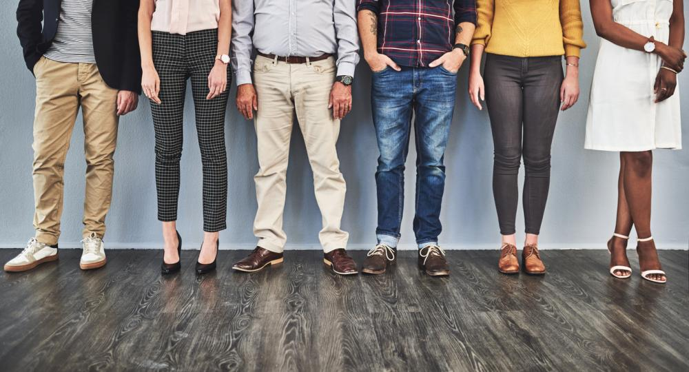 group of diverse employees with different dress styles