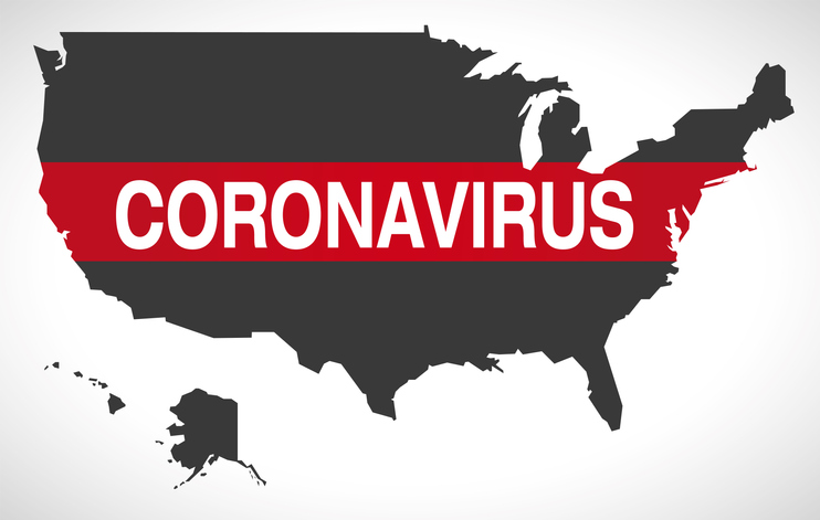 Map of united states with coronavirus banner warning