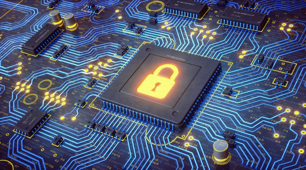 cyber security; glowing lock in circuits