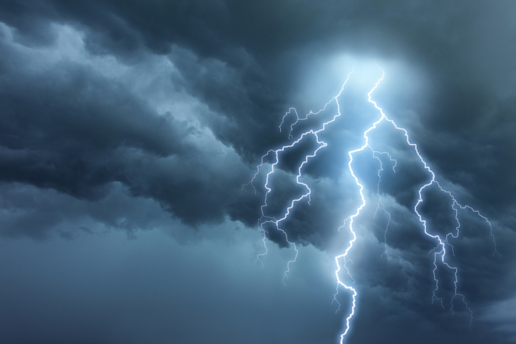 lightning flashing during a thunderstorm