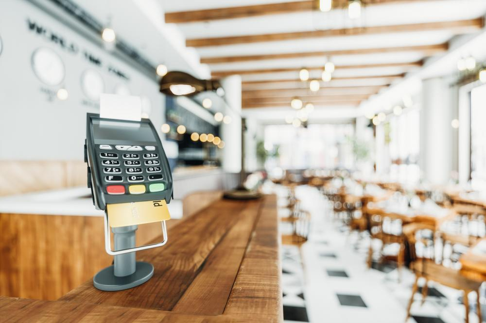 Counter-top Payment Terminal In A Restaurant
