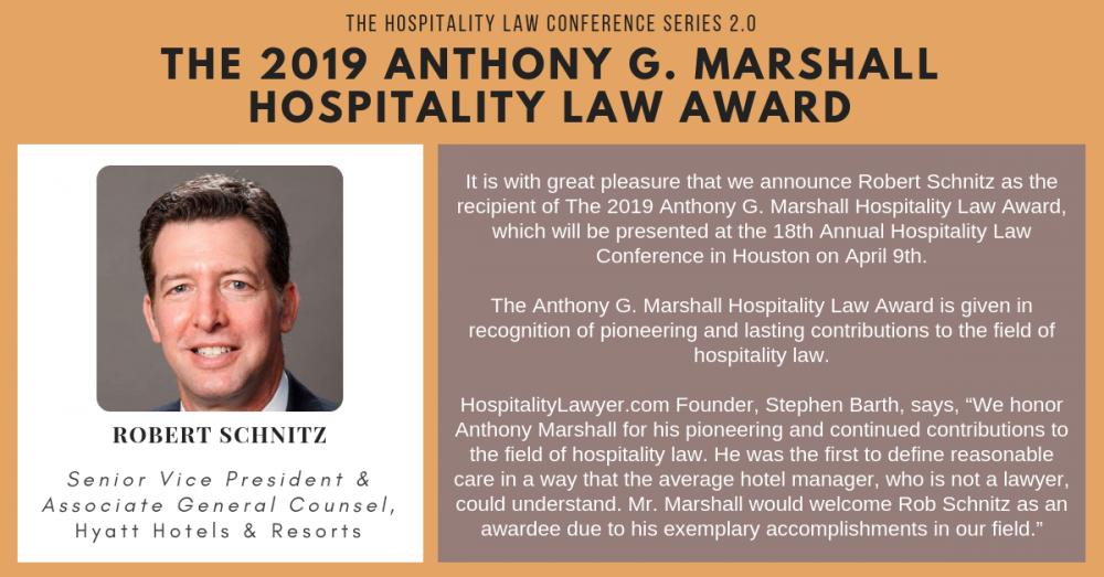 HLC 2.0 - Houston: The 2019 Anthony G. Marshall Hospitality Law Award