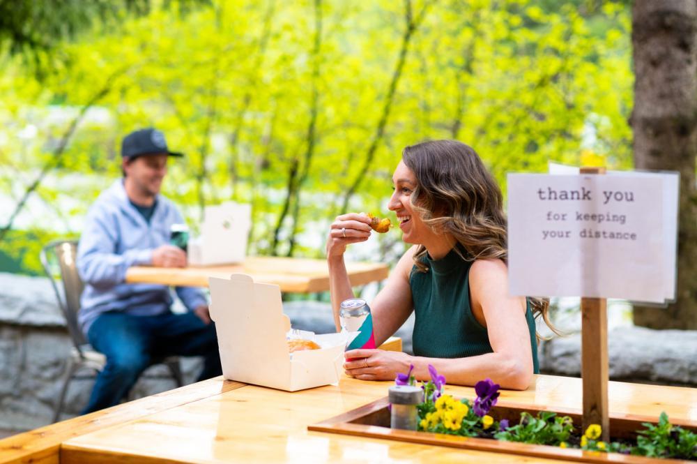 Social distancing at a restaurant patio