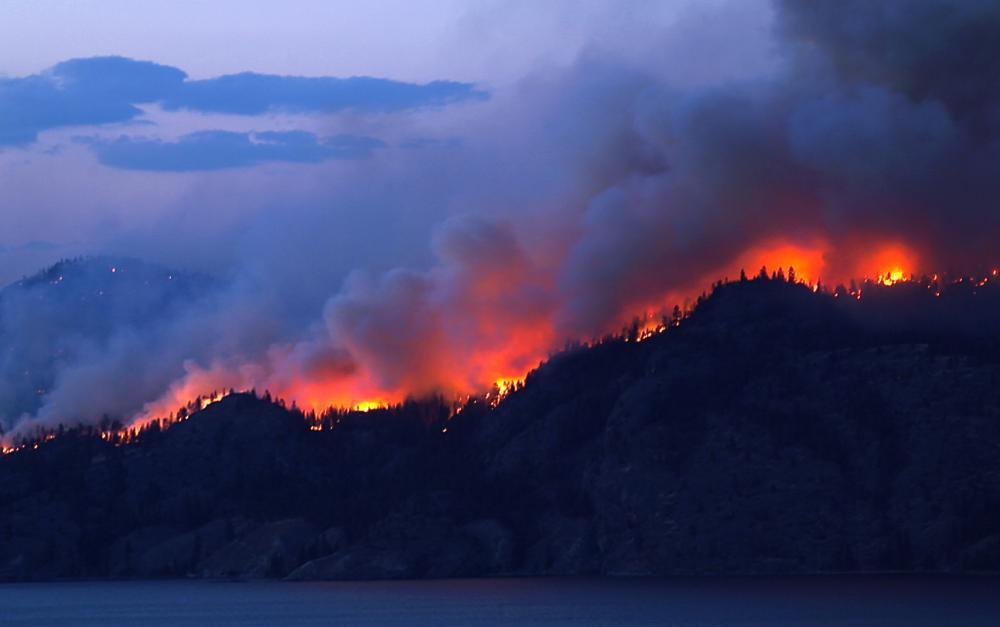 wildfires burning