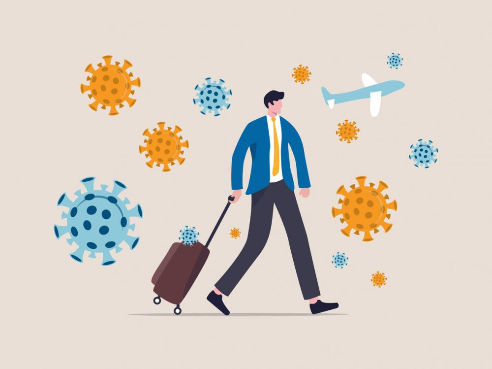 businessman with luggage, orange and blue germs, airplane against khaki background