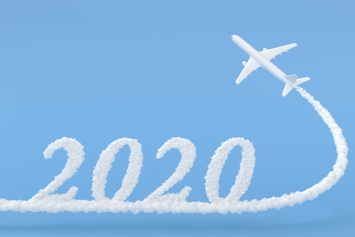 airplane with exhaust reading 2020