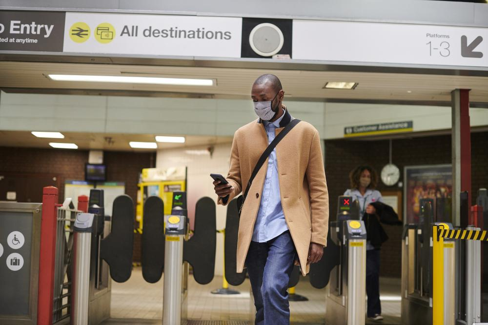 Businessman walks through airport