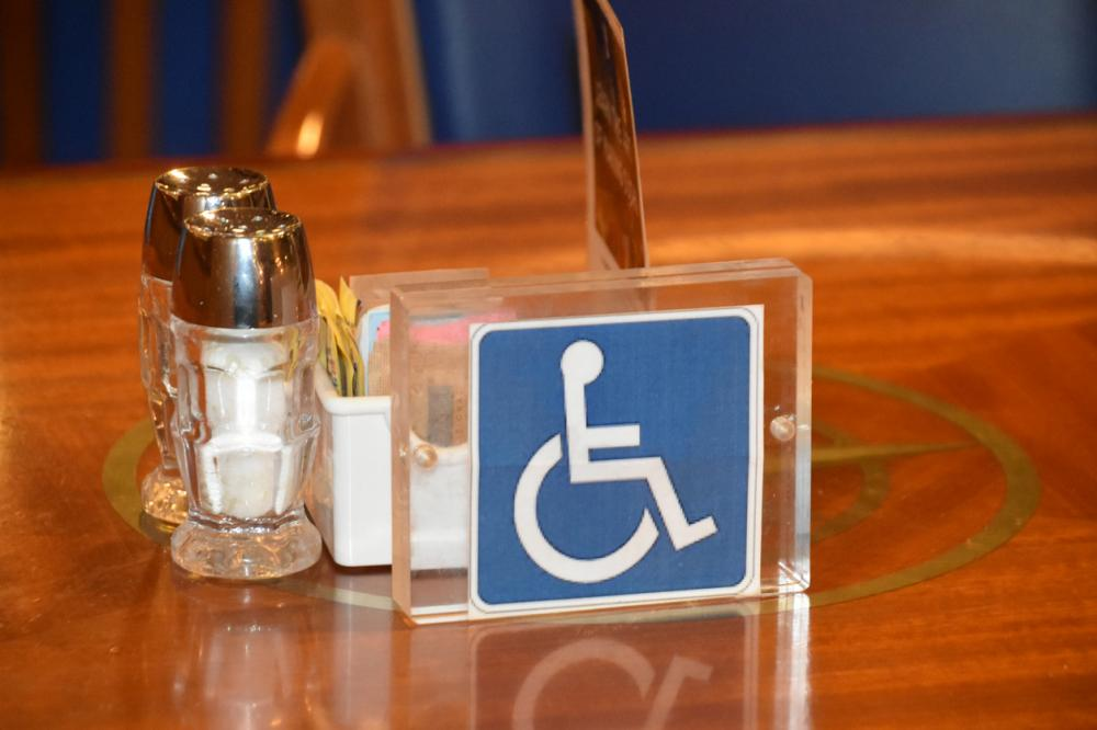 Wheelchair accessible restaurant table