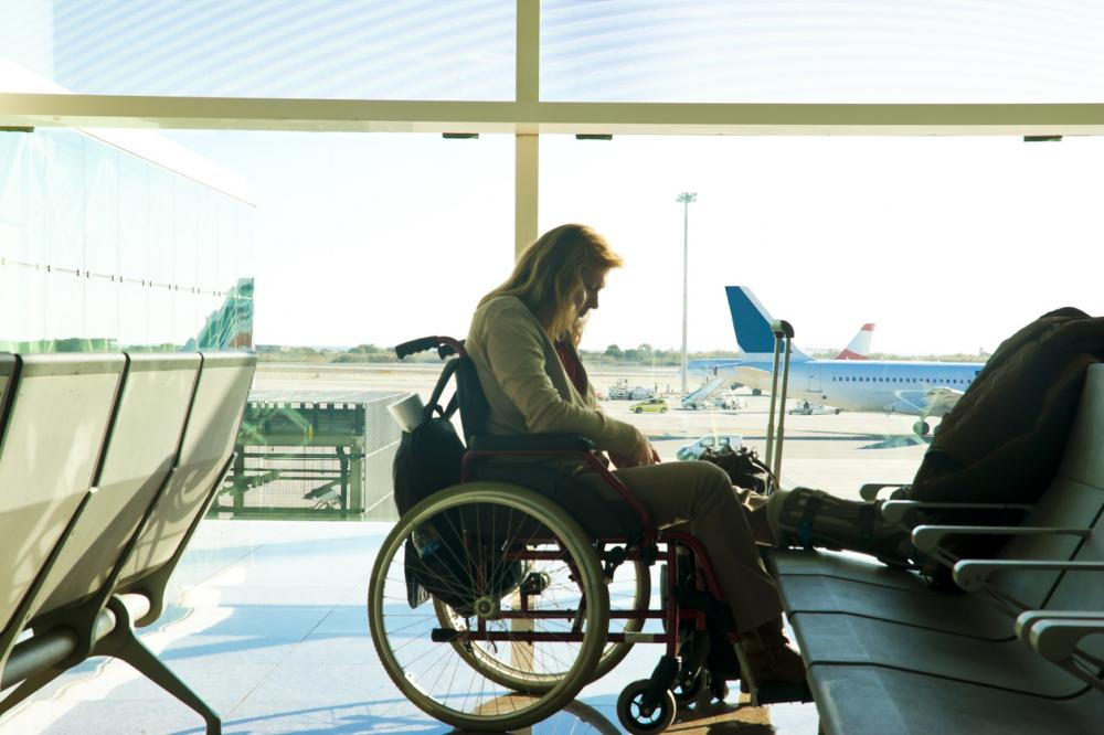 disabled woman at the airport