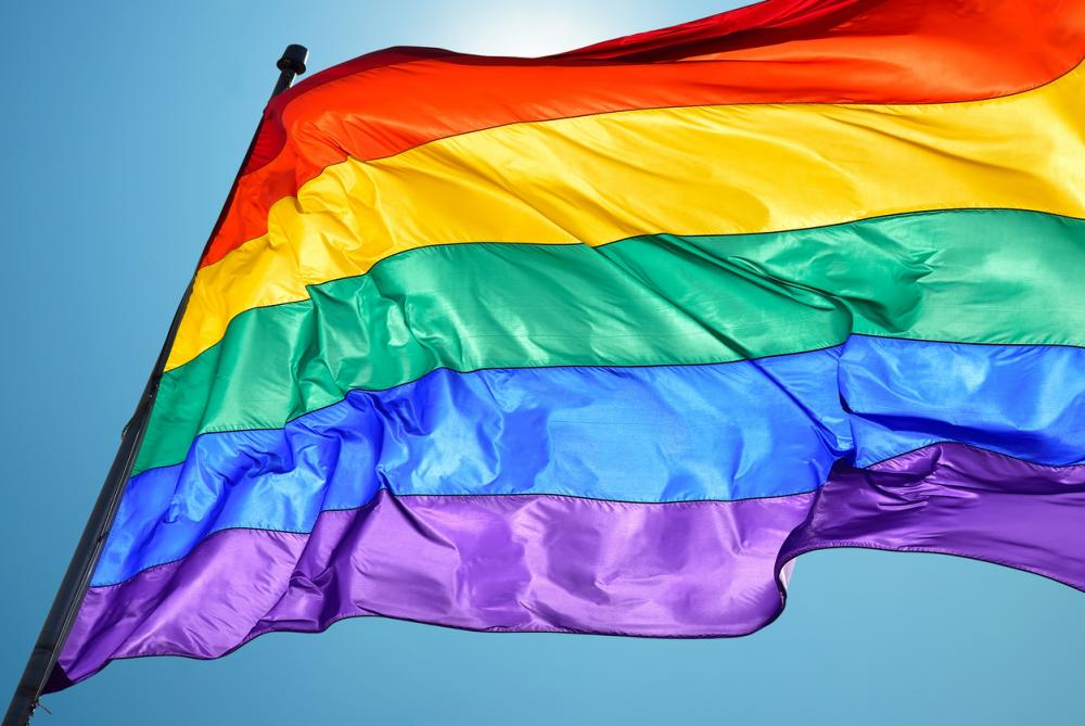 close up of LGBT pride flag