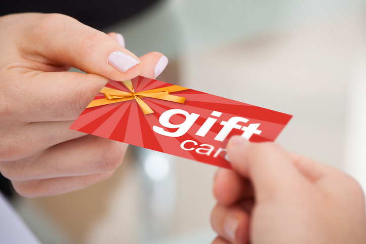 gift card being exchanged