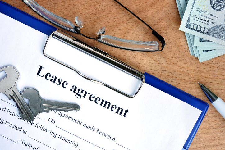 lease agreement, keys, and money