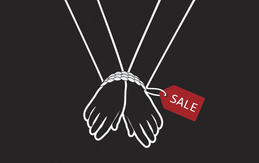 wrists bound with sale tag