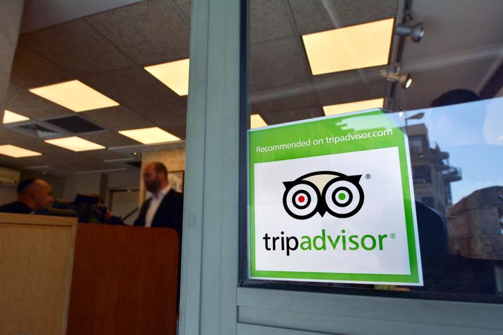 TripAdvisor sticker on building window