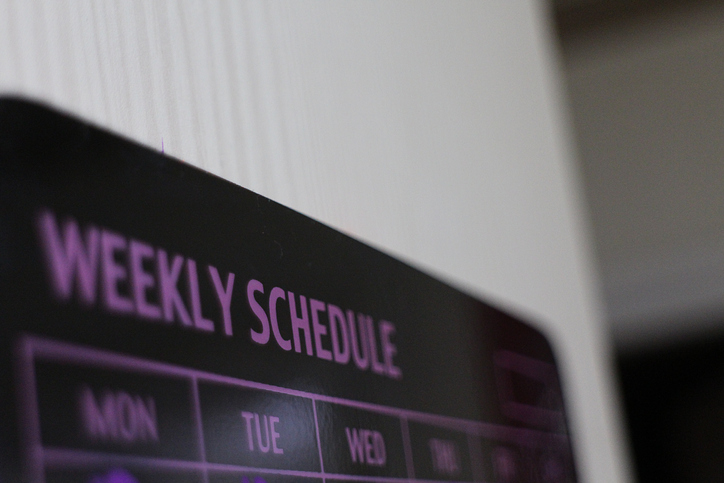 closeup of a weekly schedule