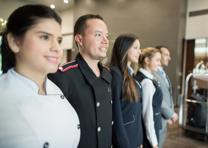 group of hotel workers