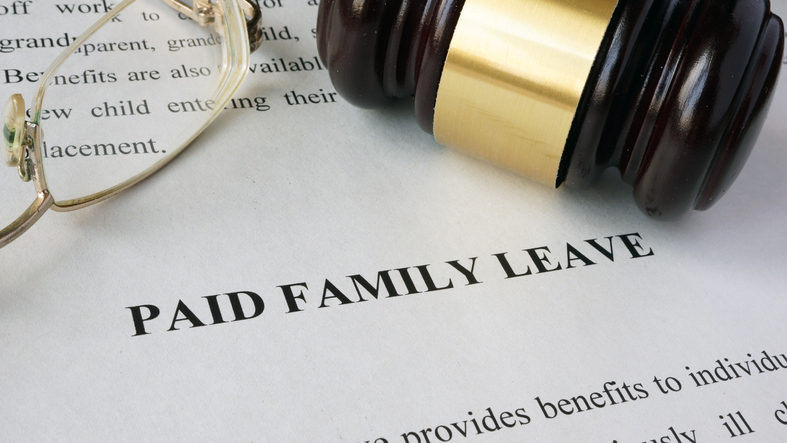 Page with title Paid family leave and gavel