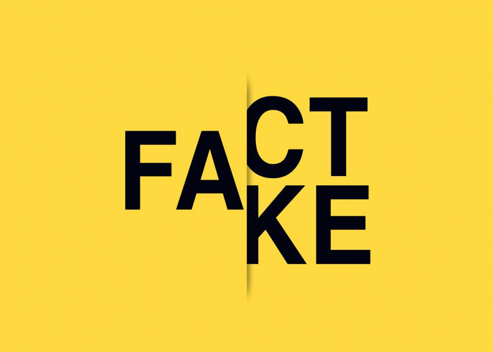 fact or fake in black letters on yellow background