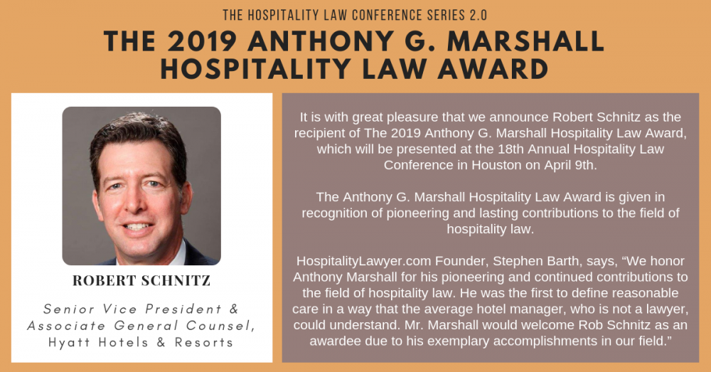 HLC 2.0 - Houston: The 2019 Anthony G. Marshall Hospitality Law Award