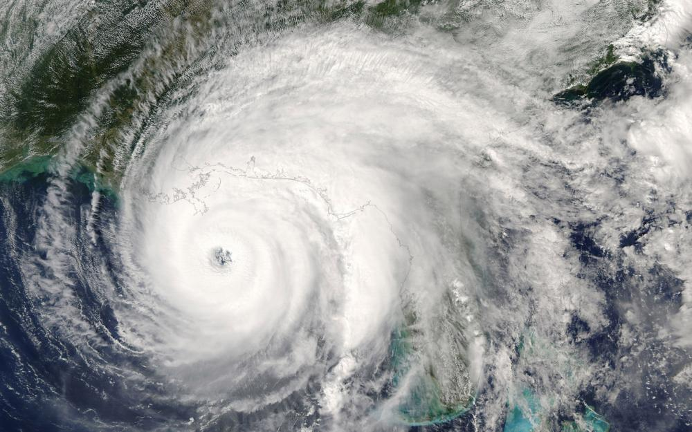 category 5 super typhoon seen from outer space