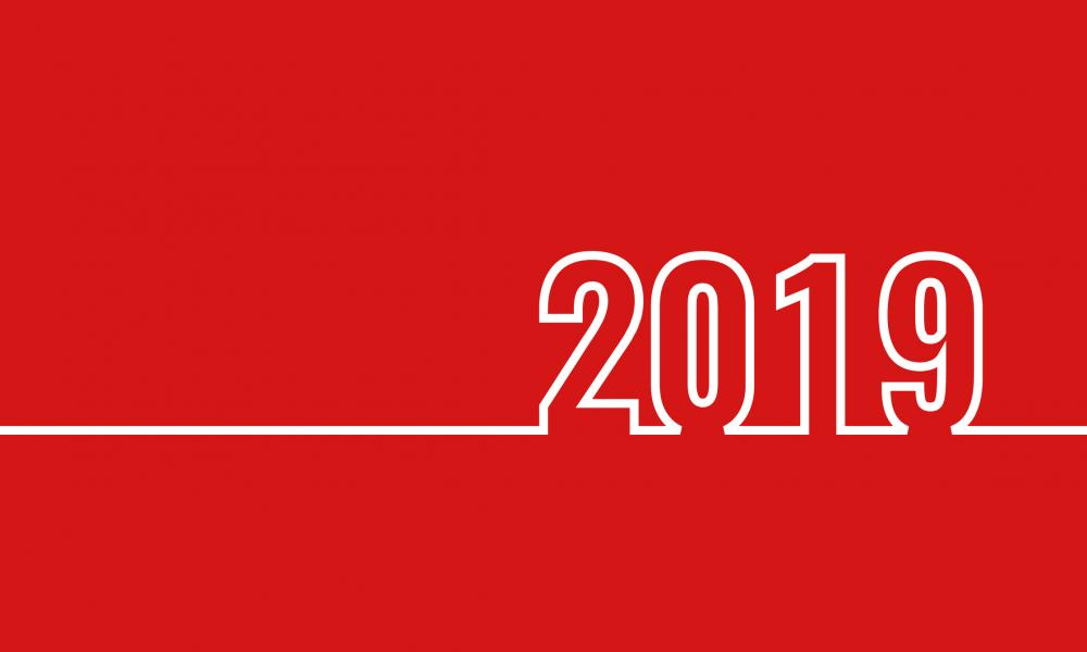2019 against red background