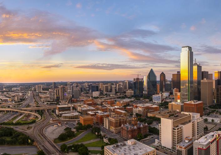 Dallas, TX, evening skyline