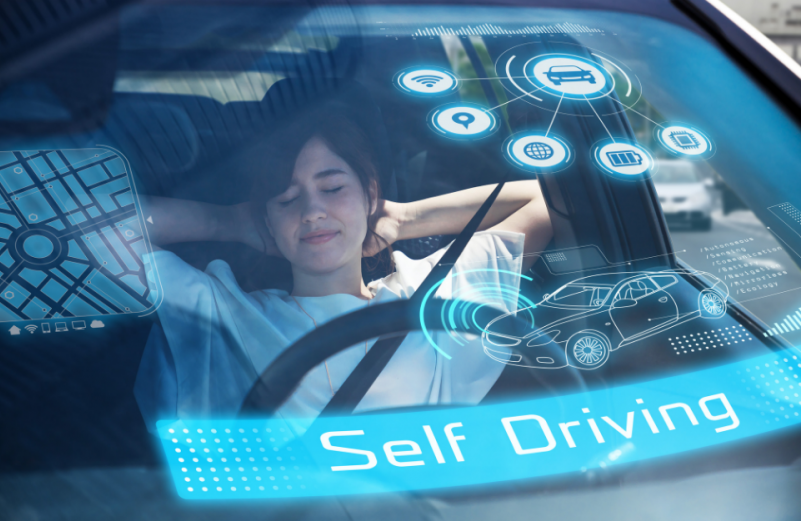 woman leaning back in self driving car
