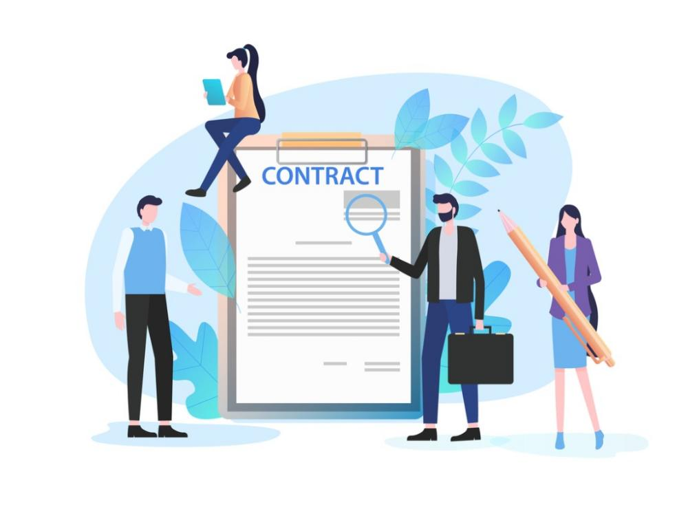 business people inspect contract