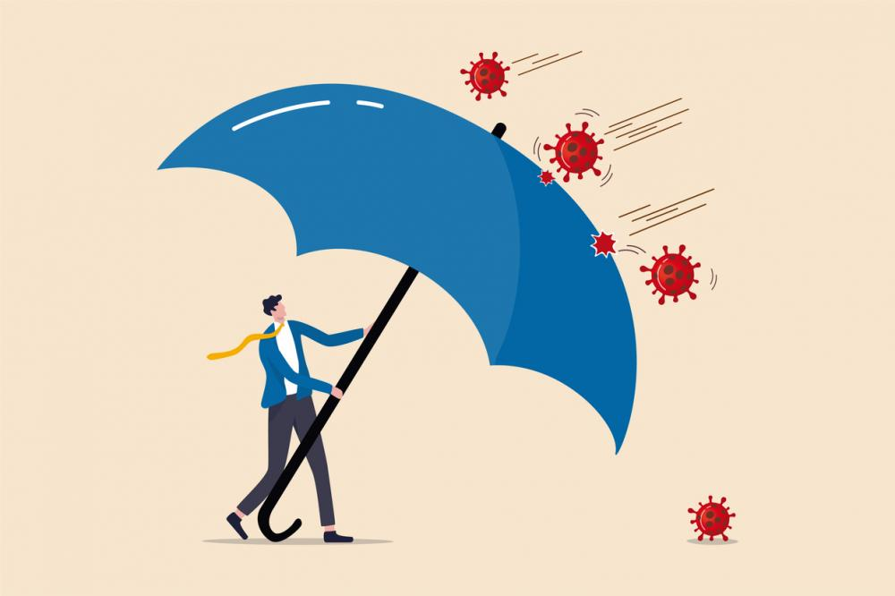businessman leader stand safe by cover himself with big umbrella from COVID-19 Coronavirus pathogen