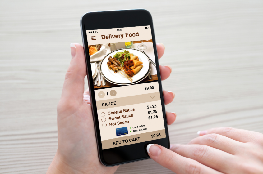 Ordering food through cell phone app