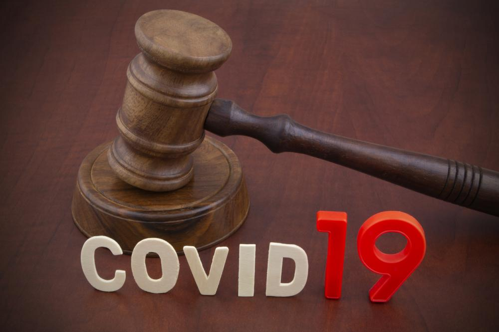 judge's gavel with COVID19