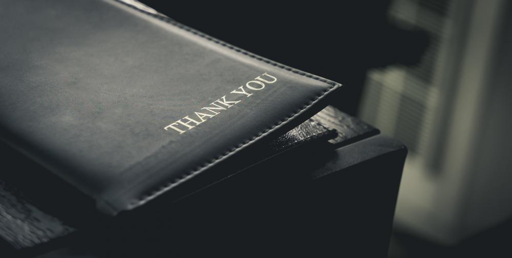 restaurant billing tray with thank you engraved