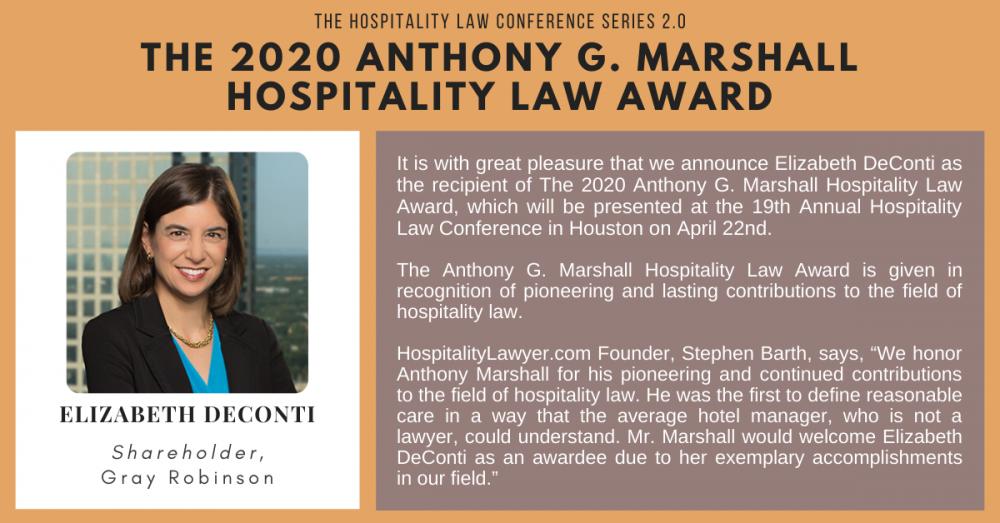 The 2020 Anthony G. Marshall Hospitality Law Award